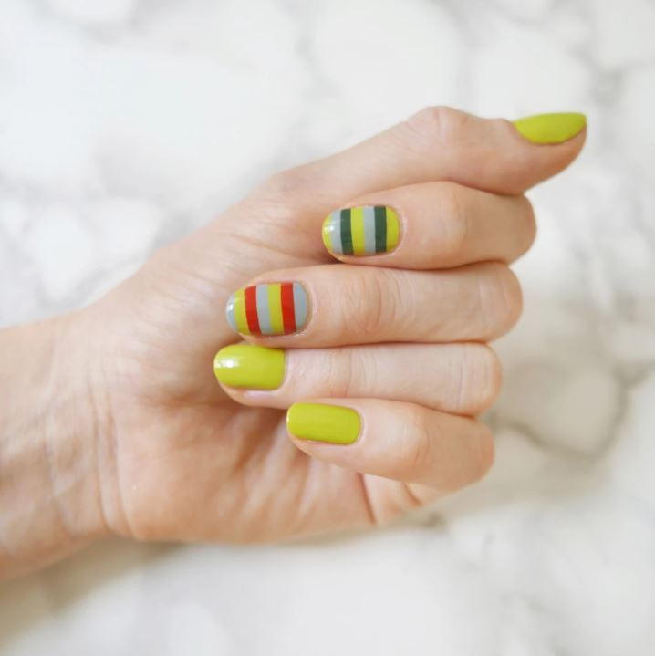top Nail Design ideas summer 2019 sally hansen horizontal stripes