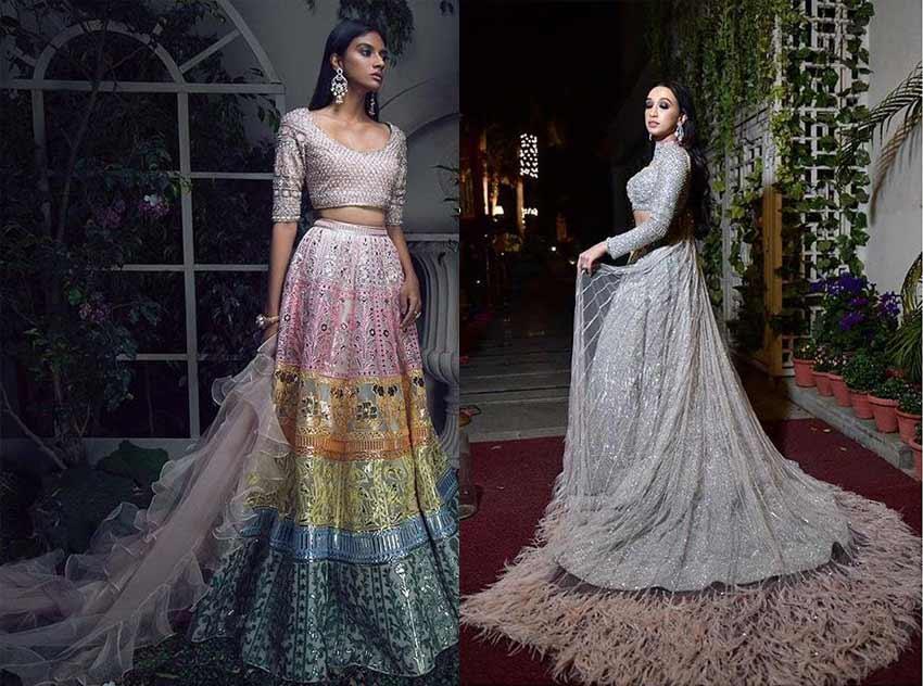Top Designer Lehenga Trends 2019 Feather Dupatta-Falguni