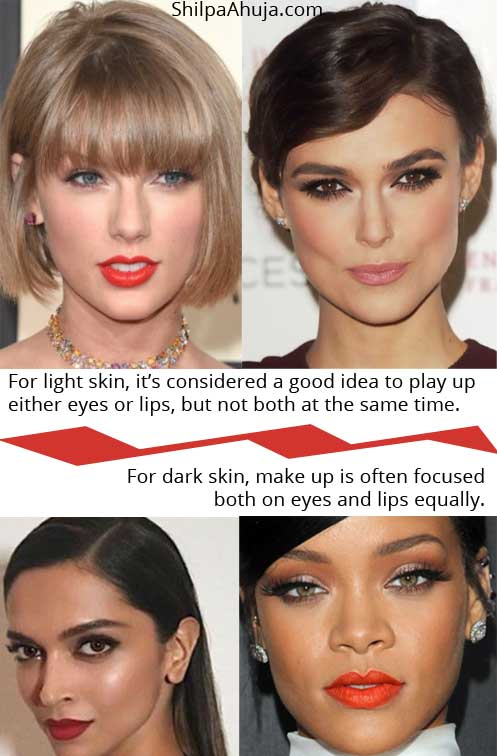 Makeup for Dark Skin Look Beautiful light vs dark tricks
