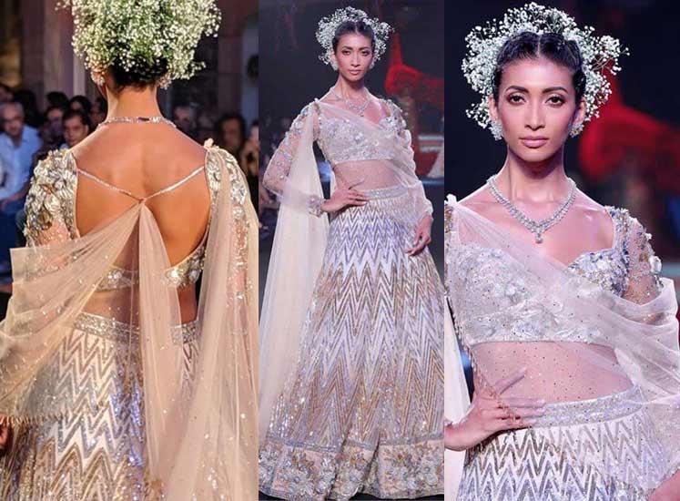 Trendy-Lehenga-Designs-2019-pre-draped dupatta Suneet-Varma