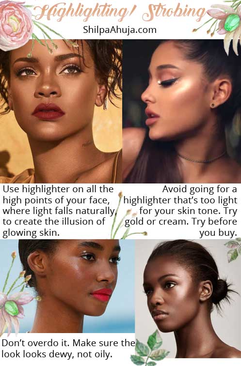 how to highlight for dark skin highlighting makeup tips strobing