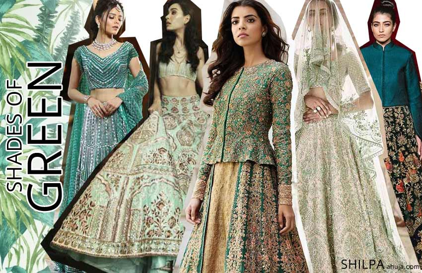 latest-designer lehenga color combinations 2019-GREEN