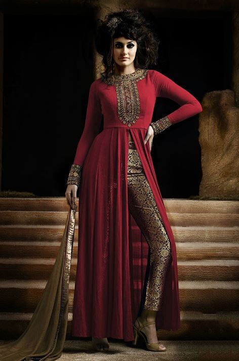 Types-of-salwar-suits-women-front-slit