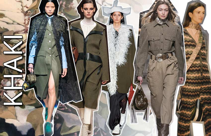 fall winter 2019 2020 fashion color trends army khaki
