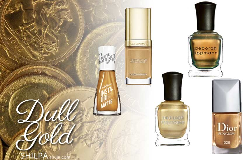 latest-nail-polish-color-trends-fall-2019-winter-2020 dull-gold