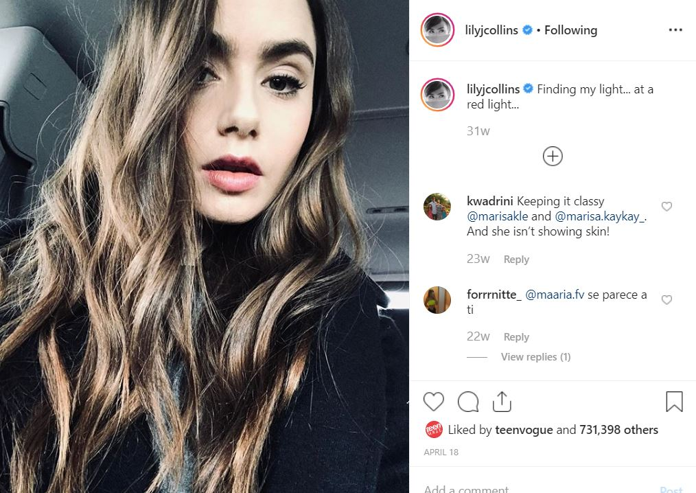 instagram types of selfie captions lily collins descriptive