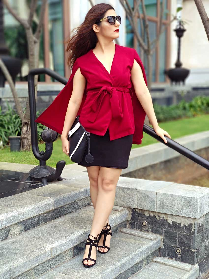 how to wear a cape top red outfit shilpa ahuja