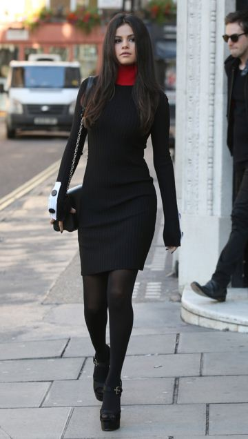 selena-gomez-street-style-black-dress-winter-tights-turtle-neck