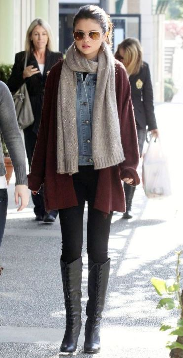 selena gomez sweater scarf celeb winter outfit