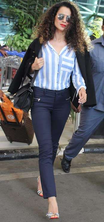 Bollywood Celeb Street Style Trends kangana ranaut stripes