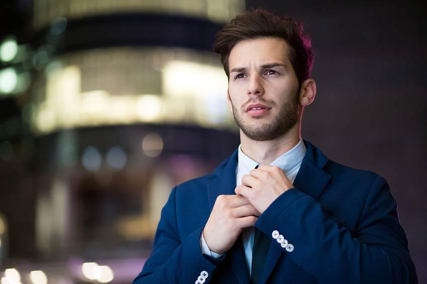 Fashion education man blue suit dress for success