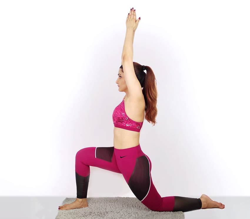 shilpa ahuja Anjaneyasana Crescent Moon Pose yoga position