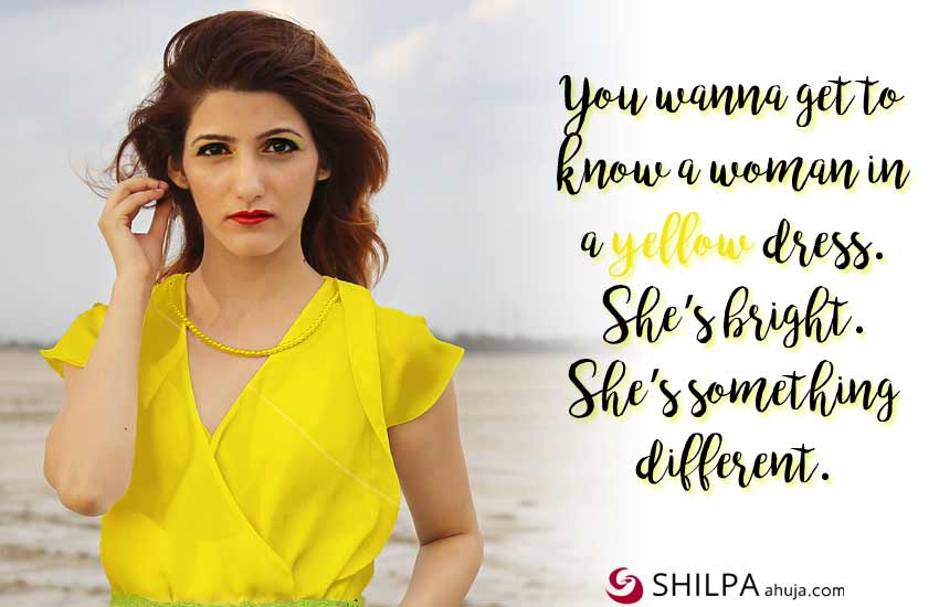 shilpa ahuja yellow dress quotes-attitude quotes insta captions