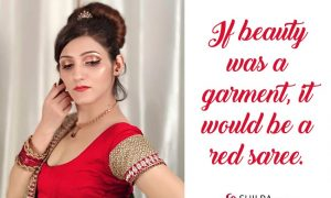 red-saree-quotes-for-instagram-love traditional beauty
