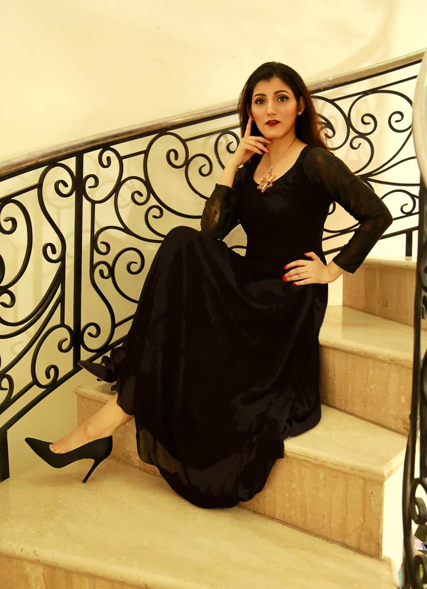 shilpa ahuja black gown glam outfit party elegant classy